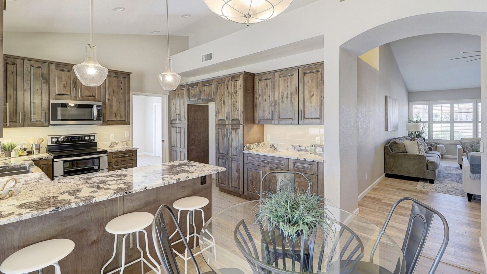 A rustic stained kitchen