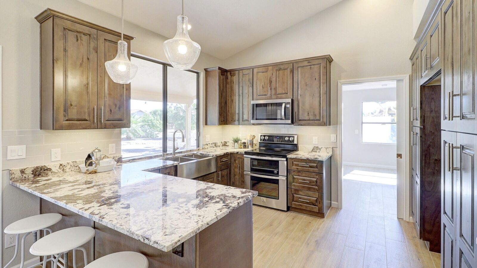 A kitchen counter top with a rustic design