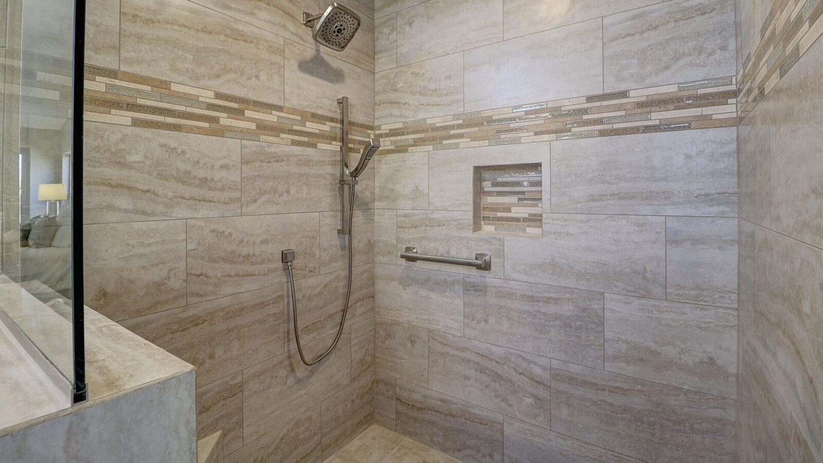 Inside of a shower room of a Peoria Classic designed bathroom