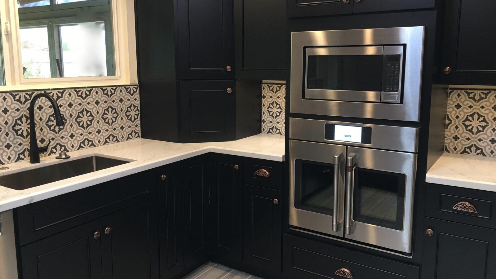 A black and copper kitchen