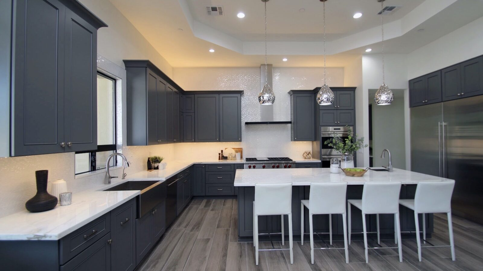 A grey-painted kitchen